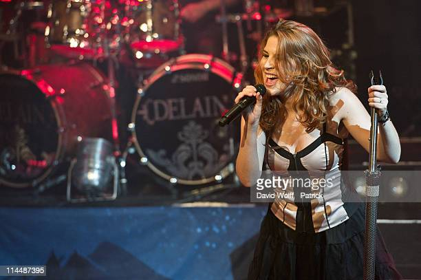 Charlotte Wessels of Delain performs at L'Alhambra on May 21 2011 in Paris France