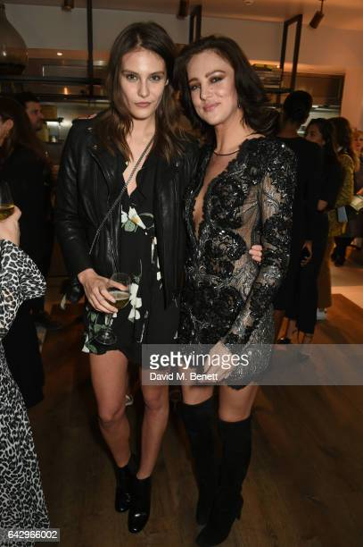 Charlotte Wiggins and Eliza Cummings arrive as Topshop and Leandra Medine host dinner to celebrate London Fashion Week on February 19 2017 in London...