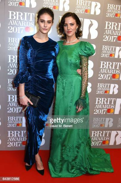 ONLY Charlotte Wiggins and Eliza Cummings attend The BRIT Awards 2017 at The O2 Arena on February 22 2017 in London England