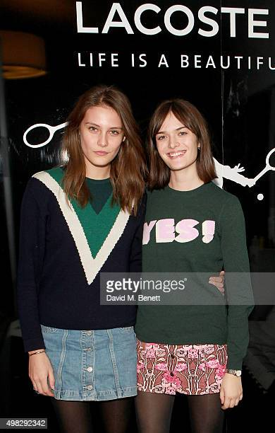 Charlotte Wiggins and Sam Rollinson attend the Lacoste VIP Lounge at the ATP World Finals 2015 at The O2 Arena on November 22 2015 in London England