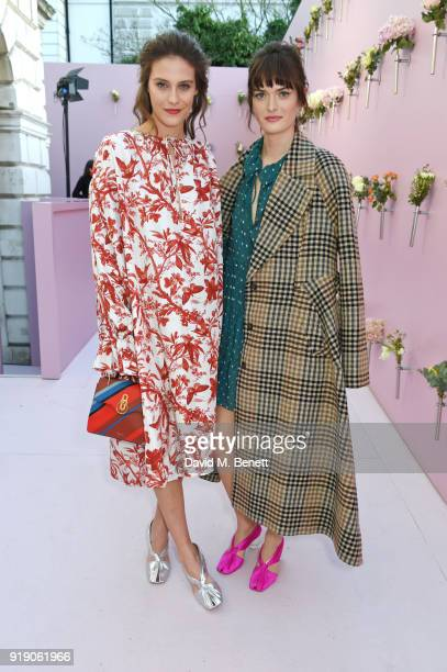 Charlotte Wiggins and Sam Rollinson attend the Mulberry 'Beyond Heritage' SS18 Presentation during London Fashion Week February 2018 at Spencer House...