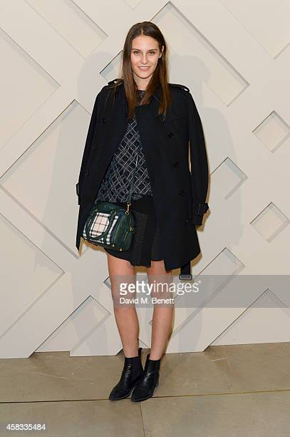 Charlotte Wiggins attends the launch of the Burberry festive campaign at 121 Regent Street on November 3, 2014 in London, England.