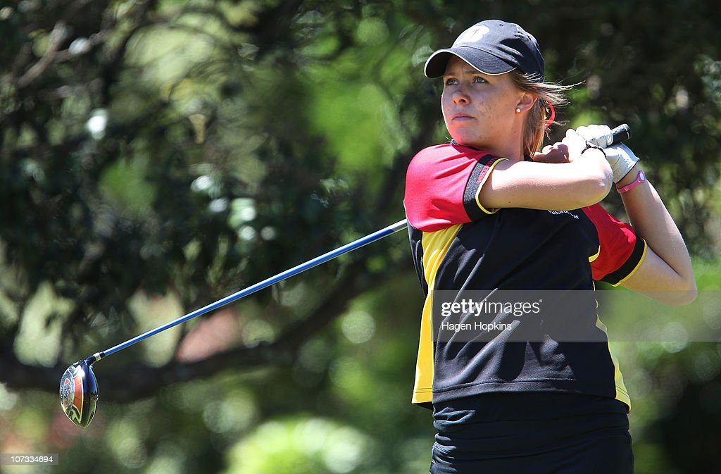 Charlotte Willson of Waikato hits a drive at the 9th hole during the final on the final day of the Women's Interprovincial Golf Championship at Miramar Golf Course on December 4, 2010 in Wellington, New Zealand.