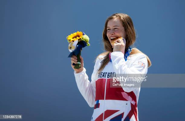 Charlotte Worthington of Great Britain celebrates during the award ceremony in the Women's Park Final - BMX Freestyle Competition on day nine of the...