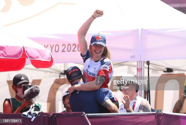 Charlotte Worthington of Team Great Britain reacts to winning gold during the Women's Park Final of the BMX Freestyle on day nine of the Tokyo 2020...