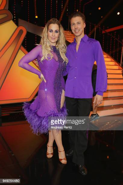 Charlotte Wuerdig and Valentin Lusin attend the 5th show of the 11th season of the television competition 'Let's Dance' on April 20, 2018 in Cologne,...