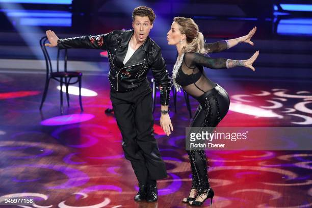 Charlotte Wuerdig and Valentin Lusin perform on stage during the 4th show of the 11th season of the television competition 'Let's Dance' on April 13...
