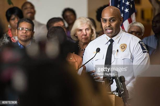 CharlotteMecklenburg Police Chief Kerr Putney fields questions from the media September 22 2016 in Charlotte North Carolina Protests began on Tuesday...