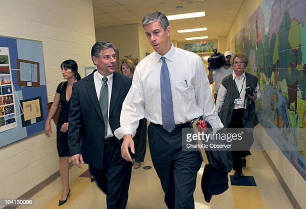CharlotteMecklenburg Schools superintendent Peter Gorman left talks with Secretary of Education Arne Duncan after visiting Sterling Elementary School...