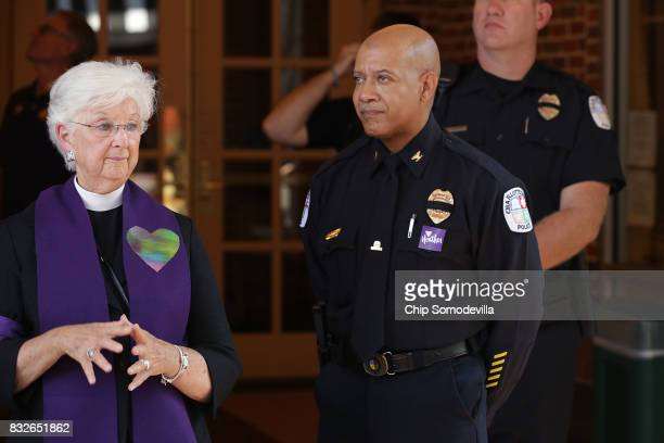 Charlottesville Police Chief Al Thomas Jr stands outside the Paramount Theater during a memorial service for Heather Heyer August 16 2017 in...