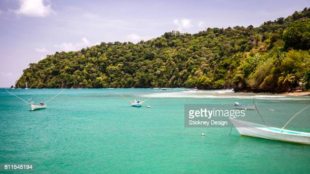Charlotteville Jetty and Boats on Turquoise in Tobago