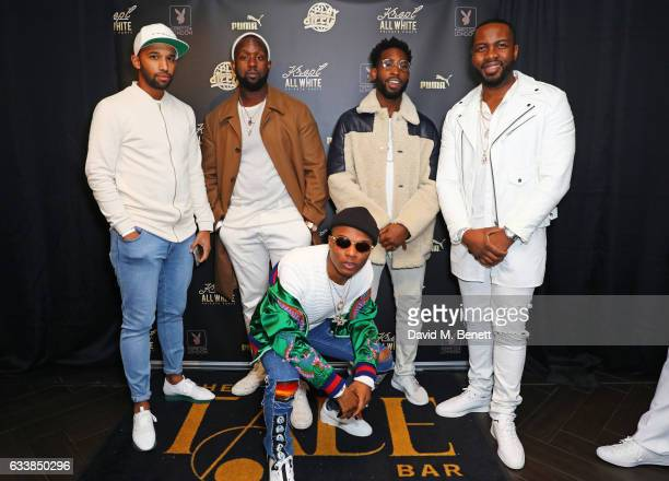 DJ Charlsey Dumi Oburota Wizkid Tinie Tempah and GFrSH attend Krept's all white attire private birthday party at The Playboy Club on February 4 2017...