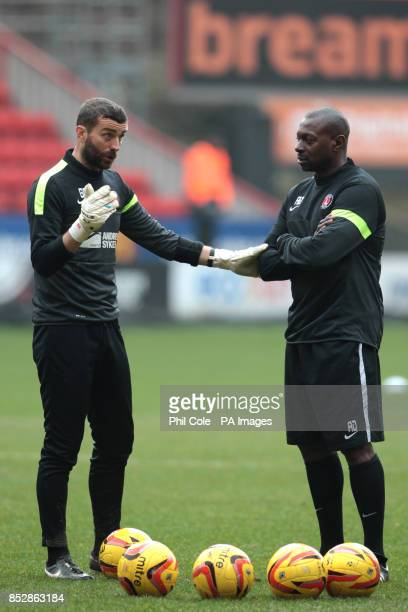 Charlton Athletic assistant manager Alex Dyer and goalkeeper coach Ben Roberts during the warm up