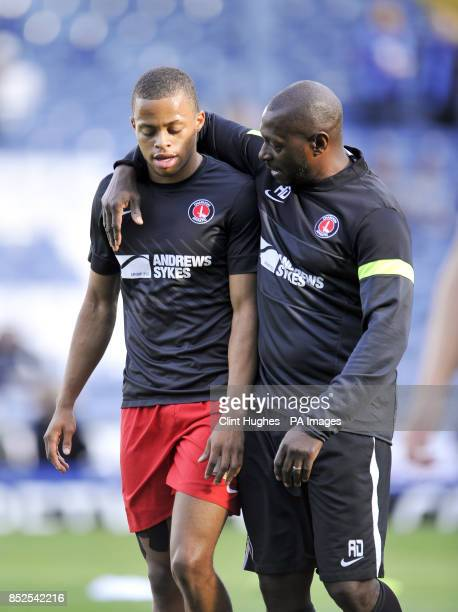 Charlton Athletic assistant manager Alex Dyer with Jordan Cousins