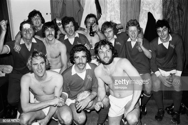 Charlton Athletic celebrate their promotion to Division One in the dressing room at the Valley following their 31 home victory over Preston North End...