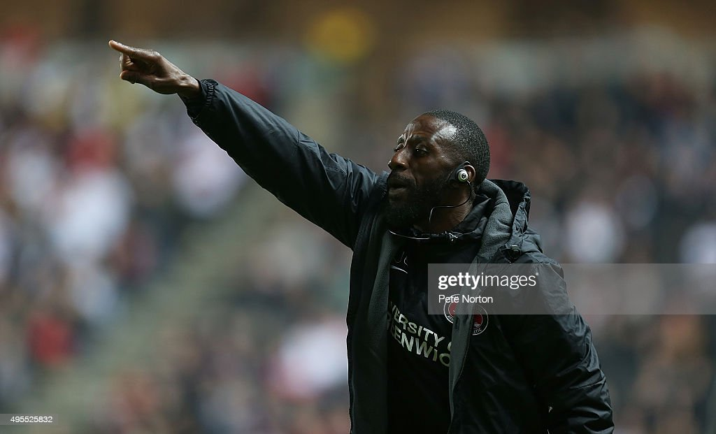 Charlton Athletic coach Jason Euell gives instructions during the Sky Bet Championship match between Milton Keynes Dons and Charlton Athletic at Stadium MK on November 3, 2015 in Milton Keynes, United Kingdom.