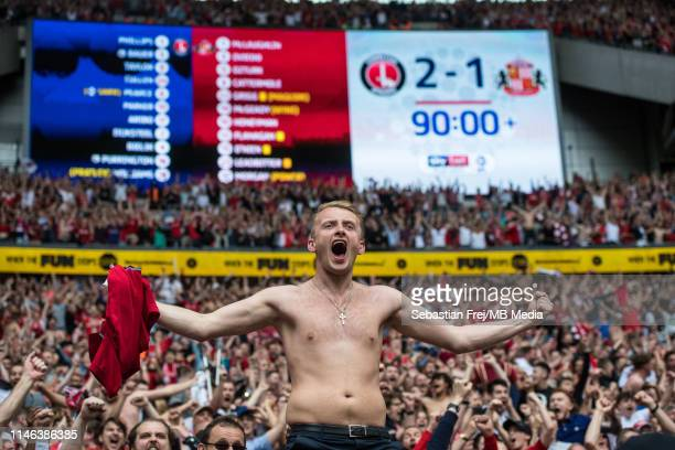 Charlton Athletic fans celebrate during the Sky Bet League One Play-off Final match between Charlton Athletic and Sunderland at Wembley Stadium on...