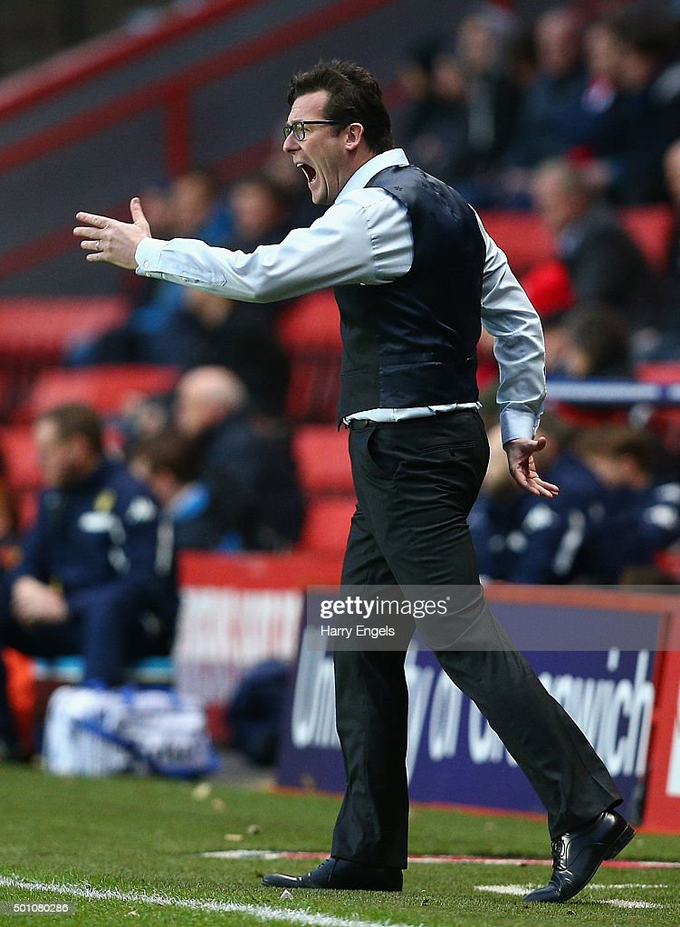 Charlton Athletic Interim Head Coach Karel Fraeye reacts on the sidelines during the Sky Bet Championship match between Charlton Athletic and Leeds United at The Valley on December 12, 2015 in London, United Kingdom.