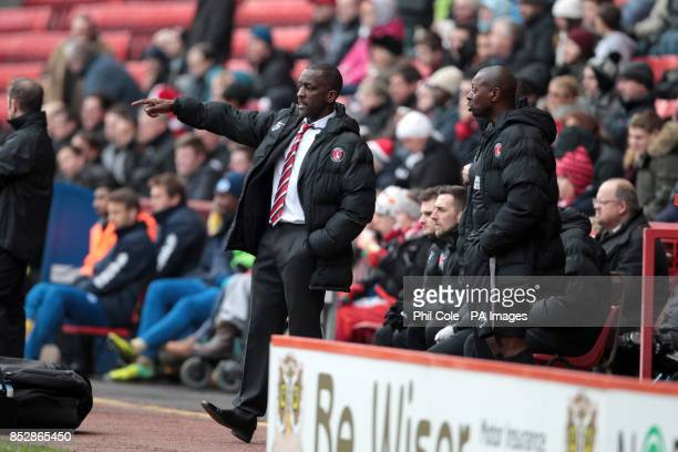 Charlton Athletic manager Chris Powell and assistant Alex Dyer on the touchline