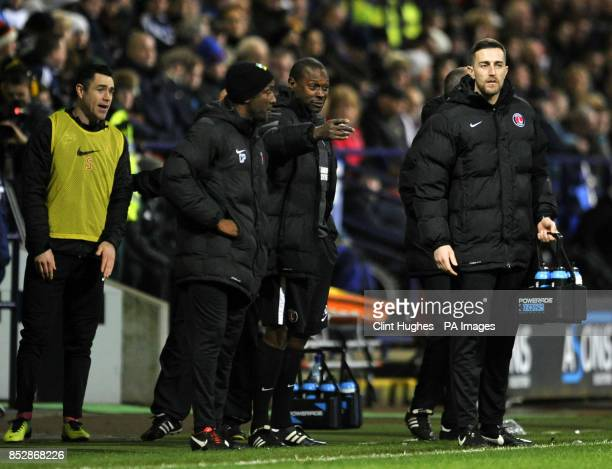 Charlton Athletic manager Chris Powell Assistant manger Alex Dyer and Head of Sports Science Laurence Bloom on the touchline during the Sky Bet...