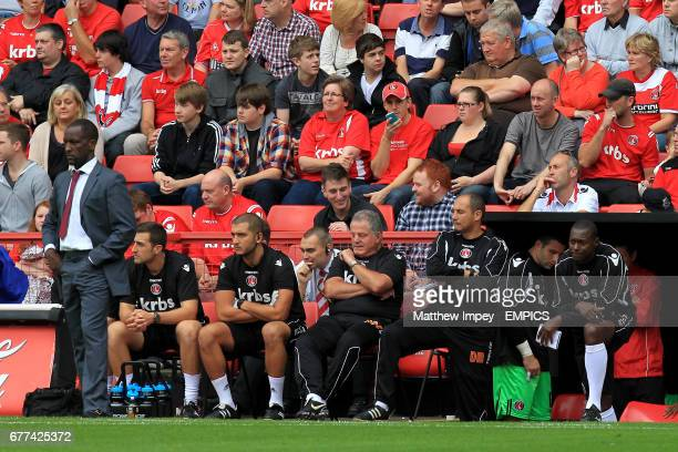 Charlton Athletic manager Chris Powell sports scientist Laurence Bloom head physiotherapist Erol Umut Doctor John Fraser first team coach Damian...