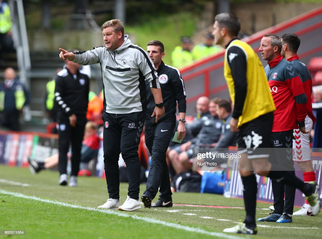 Charlton Athletic manager Karl Robinson during Sky Bet League One match between Charlton Athletic against Bury at The Valley Stadium London on 23 Sept 2017