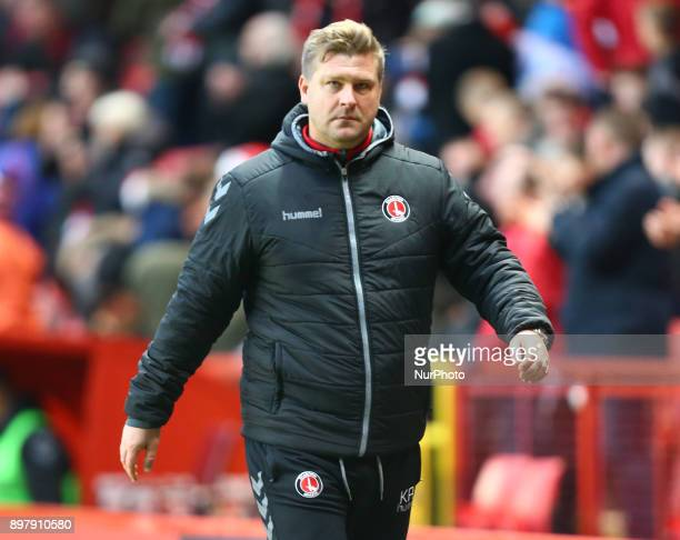 Charlton Athletic manager Karl Robinson during Sky Bet League One match between Charlton Athletic against Blackpool at The Valley Stadium London on...