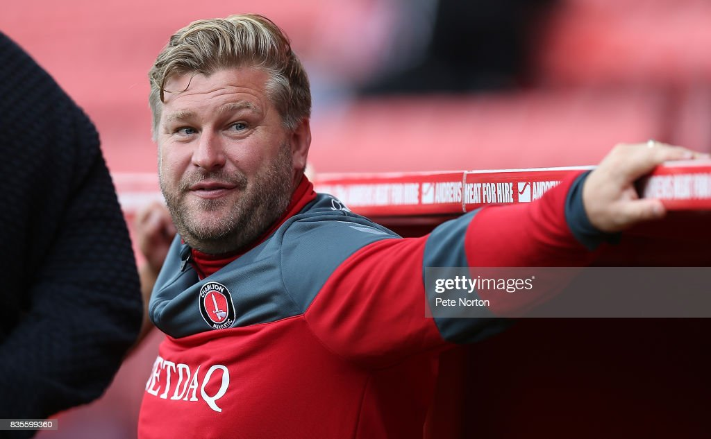 Charlton Athletic manager Karl Robinson looks on prior to the Sky Bet League One match between Charlton Athletic and Northampton Town at The Valley on August 19, 2017 in London, England.