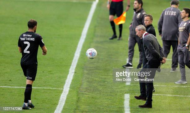 Charlton Athletic manager Lee Bowyer kicks the ball during the Sky Bet Championship match between Leeds United and Charlton Athletic at Elland Road...