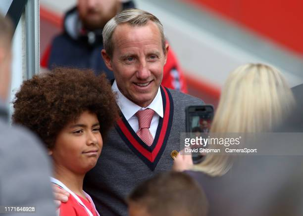 Charlton Athletic manager Lee Bowyer poses with fans before kick off during the Sky Bet Championship match between Charlton Athletic and Leeds United...