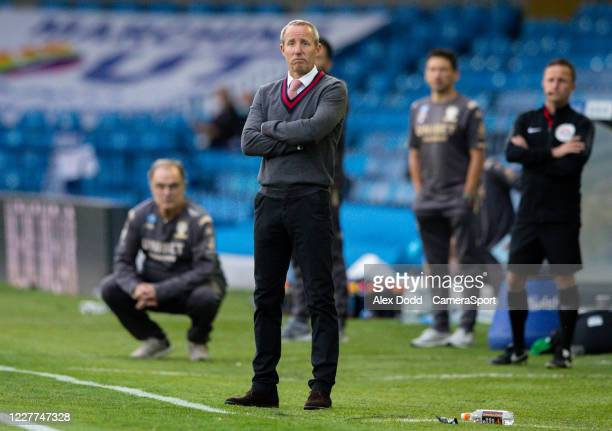 Charlton Athletic manager Lee Bowyer watches on during the Sky Bet Championship match between Leeds United and Charlton Athletic at Elland Road on...