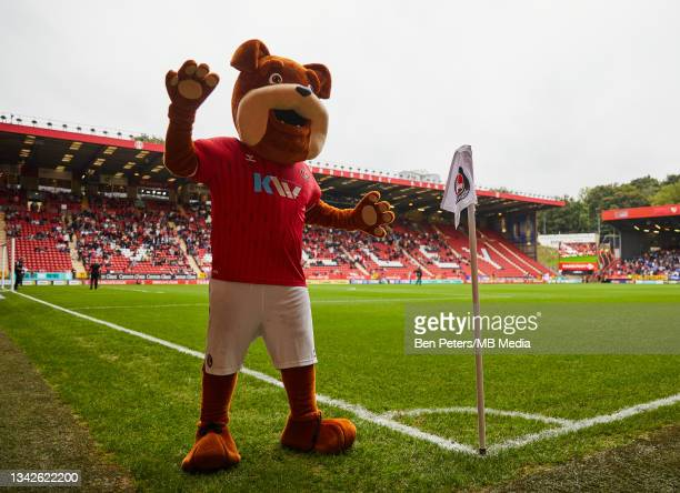 Charlton Athletic mascots Floyd entertains the fans before the Sky Bet League One match between Charlton Athletic and Portsmouth at The Valley on...