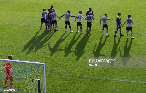 Charlton Athletic organise their defence during the EFL Trophy match AFC Wimbledon and Charlton Athletic at The Kiyan Prince Foundation Stadium on...