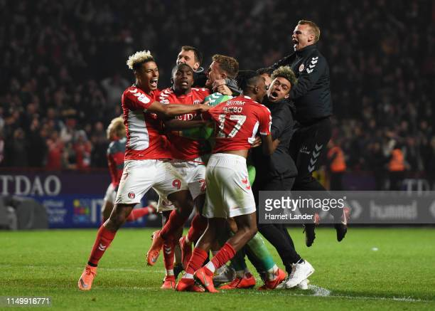 Charlton Athletic players celebrate victory in the penalty shoot out during the Sky Bet League One PlayOff Second Leg match between Charlton Athletic...