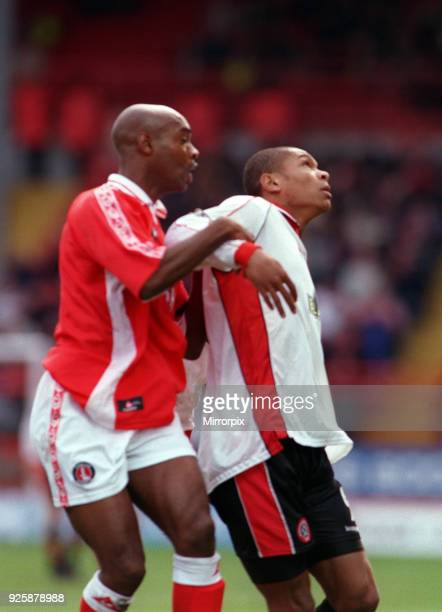 Charlton Athletic V Sheffield United Football Richard Rufus football player of Charlton Athletic with Curtis Woodhouse of Sheffield United during...