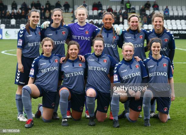 Charlton Athletic Women Team shoot during SSE Women's FA Cup quarter_final match between Arsenal against Charlton Athletic Women at Meadow Park...