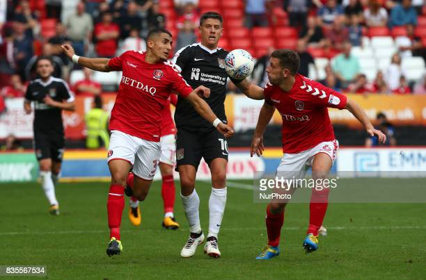 LR Charlton Athletic's Ahmed Kashi Northampton Town's Alex Revell and Charlton Athletic's Jason Pearce during Sky Bet League One match between...