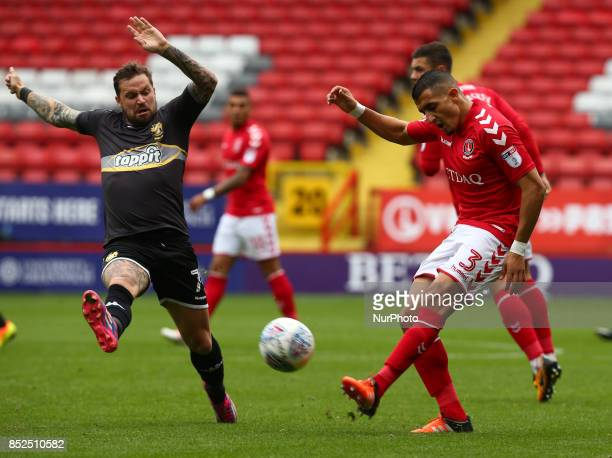 Charlton Athletic's Ahmed Kashi RIGHT during Sky Bet League One match between Charlton Athletic against Bury at The Valley Stadium London on 23 Sept...