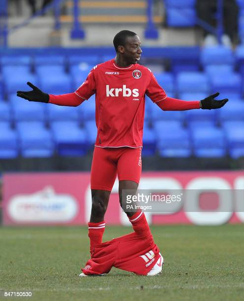 Charlton Athletic's Bradley WrightPhillips loses his shorts during the npower Football League One match at Prenton Park Wirral