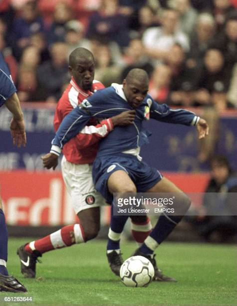 Charlton Athletic's Chris Powell tries to take the ball from Leicester City's Andrew Impey
