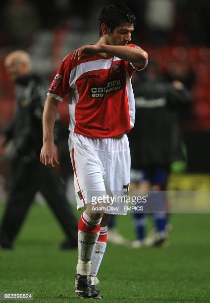 Charlton Athletic's Danny Butterfield walks away dejected adfter the final whistle