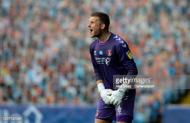 Charlton Athletic's Dillon Phillips reacts during the Sky Bet Championship match between Leeds United and Charlton Athletic at Elland Road on July 22...
