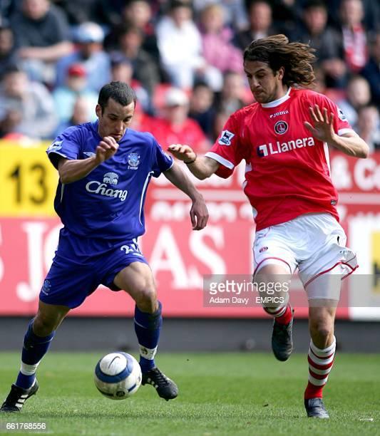 Charlton Athletic's Gonzalo Sorondo and Everton's Leon Osman battle for the ball