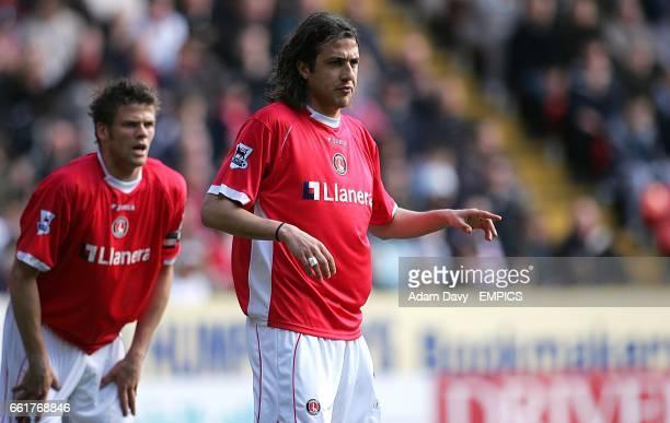 Charlton Athletic's Gonzalo Sorondo and Hermann Hreidarsson