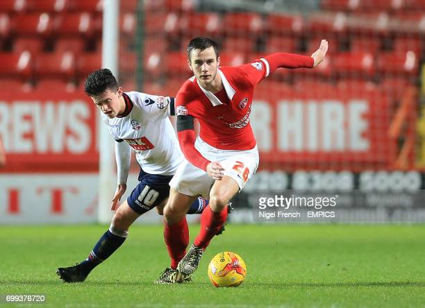 Charlton Athletic's Harry Lennon and Bolton Wanderers' Zach Clough battle for the ball