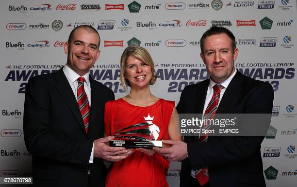 Charlton Athletic's Head of Youth and Social Inclusion Mark Leckie and Community Director Matt Parish recieve the CocaCola Community Club of the Year...