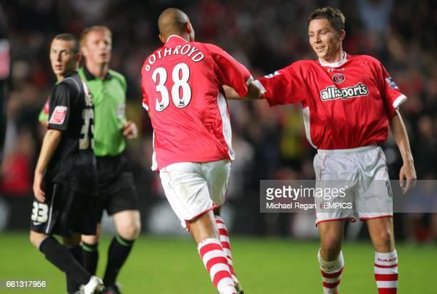 Charlton Athletic's Jay Boothroyd celebrates his goal with Matt Holland as David Foley looks on