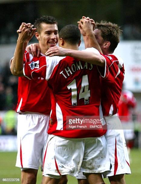 Charlton Athletic's Jerome Thomas celebrates scoring their fourth goal with Darren Ambrose and Matt Holland