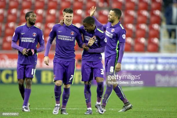 Charlton Athletic's Johann Berg Gudmundsson and Charlton Athletic's Ahmed Kashi celebrate the win