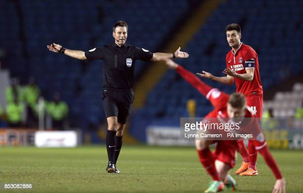 Charlton athletic's Johnnie Jackson appeals for a decision from match referee Mark Clattenburg who says no